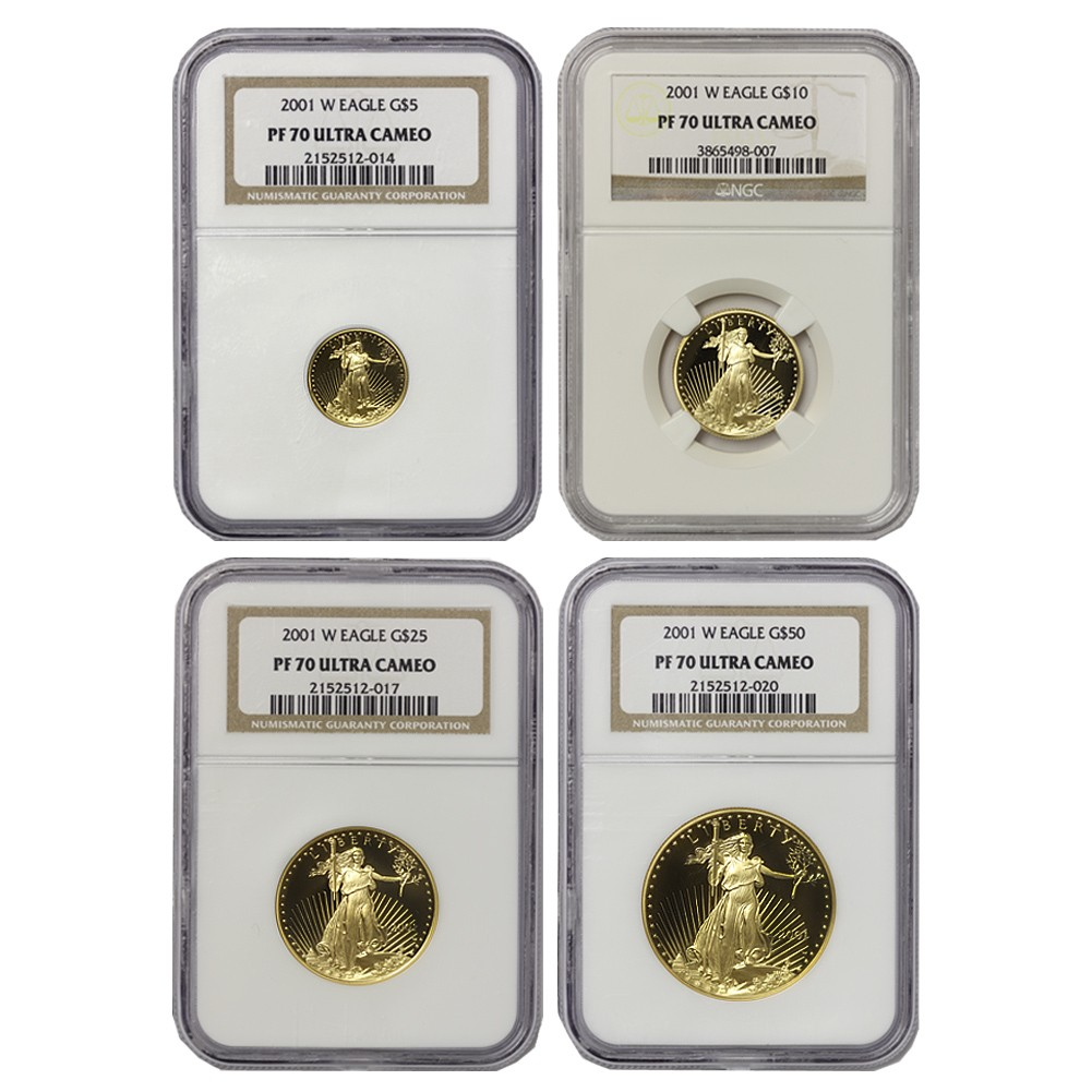 2001-W Set of 4 Eagles NGC PF70UCAM Obverse