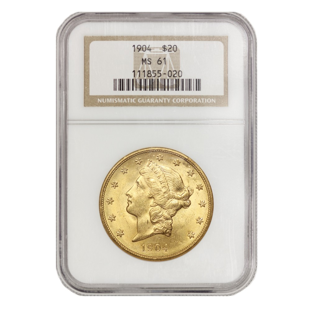 1904 $20 Liberty NGC MS61 Obverse