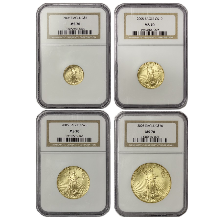 US Gold American Eagle 2005 NGC MS70 Four Coin Set