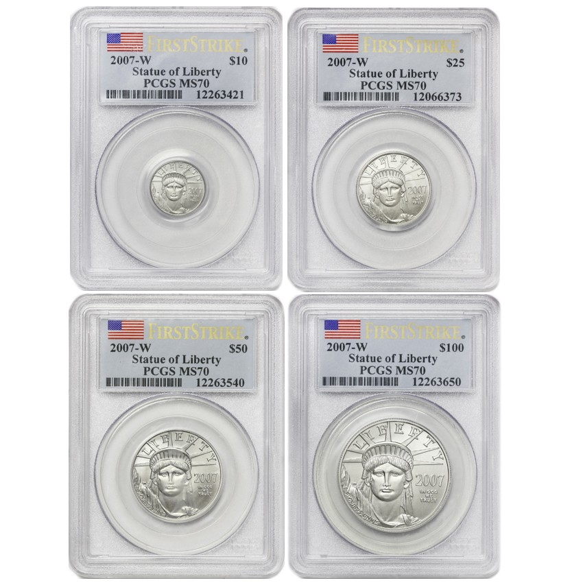 US Platinum Eagle 2007-W PCGS MS70 4 Coin Set First Stike