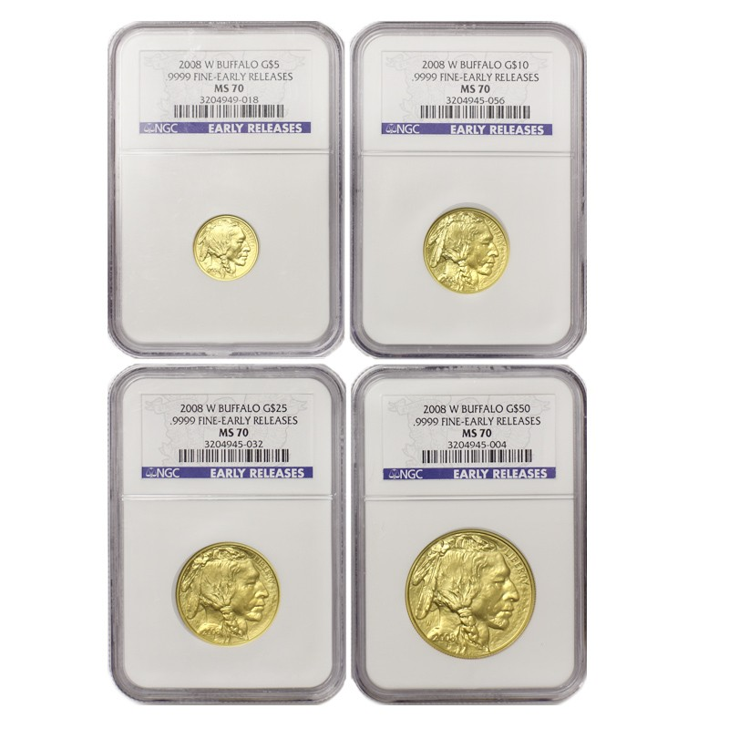 US Gold Buffalo 2008-W NGC MS70 4 Coin Set Early Releases