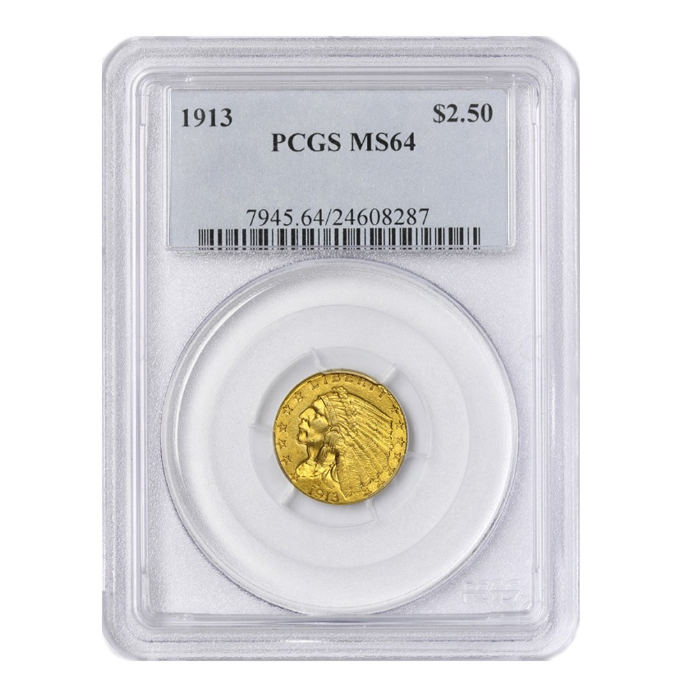1913 $2.50 Indian PCGS MS64 Obverse
