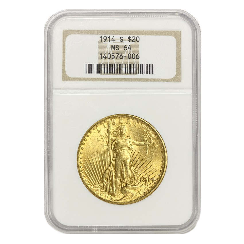 US $20 Saint Gaudens 1914-S NGC MS64