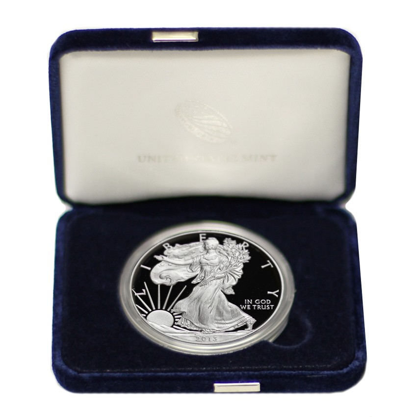 US S$1 Silver Eagles 2013-W Proof With Mint Box