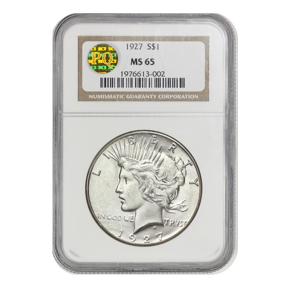 1927 $1 Peace NGC MS65 PQ Obverse