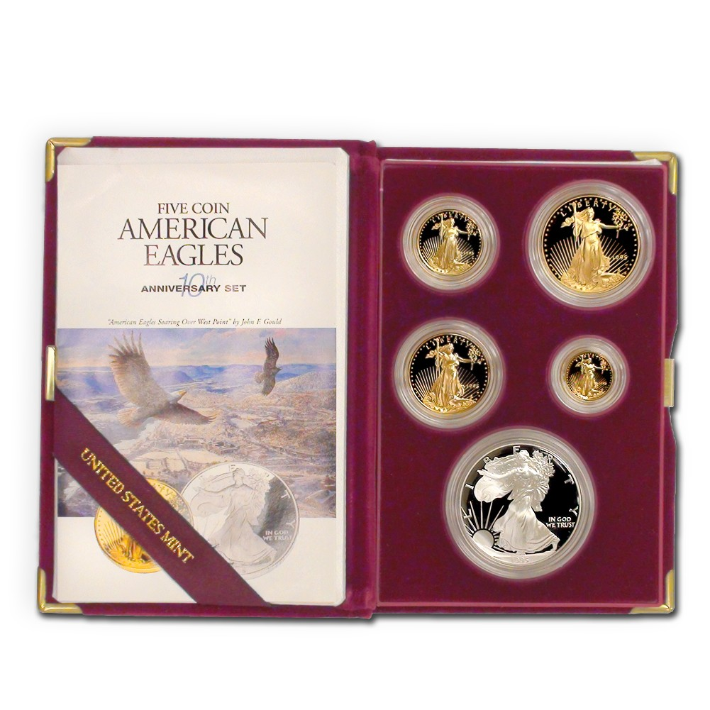 Set of 5 1995-W Gold & Silver Eagle Proofs w/ Box and COA Obverse