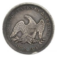 1842 $1 Seated Liberty Silver Dollar VF Obverse