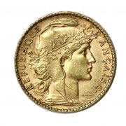 French Gold 20 Franc Rooster Pre-1933 Obverse