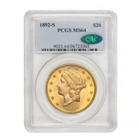 1892-S $20 Liberty PCGS MS64 CAC Obverse