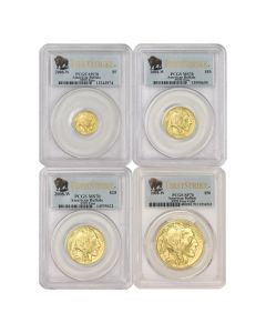 Set of 4 2008-W Gold Buffalos PCGS MS70 FS Obverse