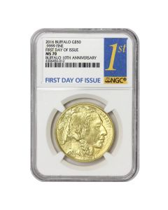 2016 $50 Gold Buffalo NGC MS70 FDOI Obverse